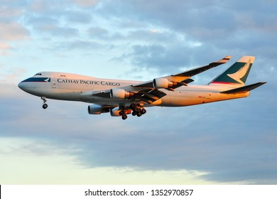 Frankfurt,Germany-September 04,2015:Cathay Pacific Cargo boeing 747.Cathay Pacific Airways Limited is the flag carrier of Hong Kong.