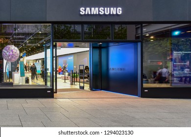 FRANKFURT,GERMANY-SEPTEMBER 06,2018: SAMSUNG phone store.Samsung Group is a South Korean multinational conglomerate headquartered in Samsung Town, Seoul.