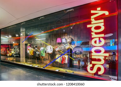 FRANKFURT,GERMANY-SEPTEMBER 06,2018: SUPERDRY fashion store.Superdry plc is a UK branded clothing company.
