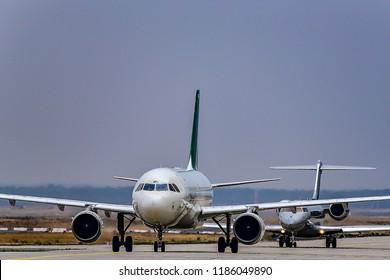 FRANKFURT,GERMANY-SEPTEMBER 06,2018:ALITALIA Airbus A319.