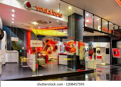 FRANKFURT,GERMANY-SEPTEMBER 06,2018:Vodafone Group plc is a British multinational telecommunications conglomerate, with headquarters in London.