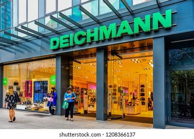 FRANKFURT,GERMANY-SEPTEMBER 06,21018: DEICHMANN shoe store.Deichmann SE is a major German shoe and sportswear retail chain.