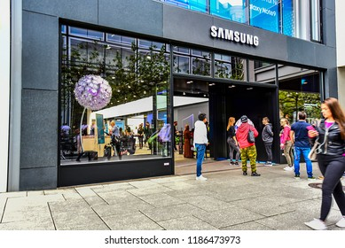 FRANKFURT,GERMANY-SEPTEMBER 06,21018: SAMSUNG phone store.Samsung Group is a South Korean multinational conglomerate headquartered in Samsung Town, Seoul.