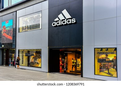 FRANKFURT,GERMANY-SEPTEMBER 06,21018:ADIDAS sports and fashion store.Adidas AG is a multinational corporation, founded and headquartered in Herzogenaurach, Germany.