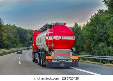 Frankfurt,Germany-September 07,2018:  GRAFFE carrier  truck on the route.