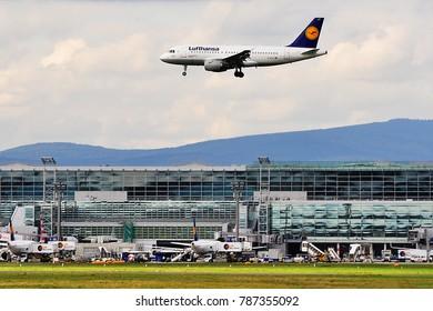 FRANKFURT,GERMANY-SEPTEMBER 24,2015: LUFTHANSA AIRLINES aircraft lands at Frankfurt airport.