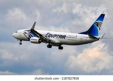 FRANKFURT,GERMANY-SEPTEMBER 24,2015:EGYPTAIR Boeing 737.