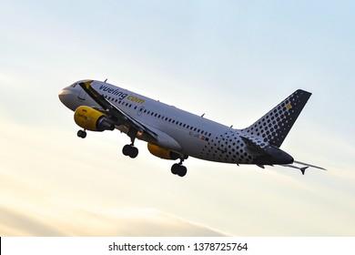 Frankfurt,Germany-September 24,2015:Vueling Airlines Airbus A319. Vueling Airlines is the largest airline in Spain .