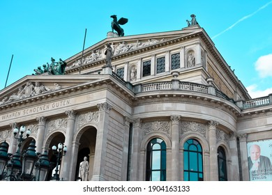 Frankfurt,Hessen Germany - january 19,2019: view of the Alte oper in Opernplatz Frankfurt, architecture and people