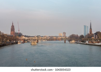 FRANKFURT(MAIN),GERMANY - MARCH 03,2018: The Main It's the big river in the direction to the opera and the Europaeische Zentralbank.