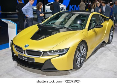 Frankfurt-September 20: BMW i8  at the Frankfurt International Motor Show on September 20, 2017 in Frankfurt
