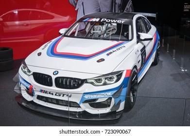 Frankfurt-September 20: BMW M4 GT4 Race car  at the Frankfurt International Motor Show on September 20, 2017 in Frankfurt