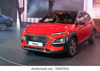 Frankfurt-September 20:  Hyundai Kona at the Frankfurt International Motor Show on September 20, 2017 in Frankfurt
