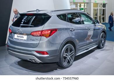 Frankfurt-September 20:  Hyundai Santa Fe at the Frankfurt International Motor Show on September 20, 2017 in Frankfurt