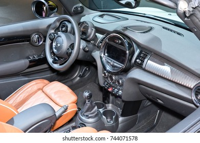 Frankfurt-September 20:  Interior of Mini Cooper Cabrio  at the Frankfurt International Motor Show on September 20, 2017 in Frankfurt