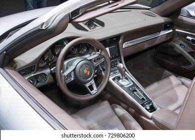 Frankfurt-September 20: Interior of Porsche 911 Turbo at the Frankfurt International Motor Show on September 20, 2017 in Frankfurt
