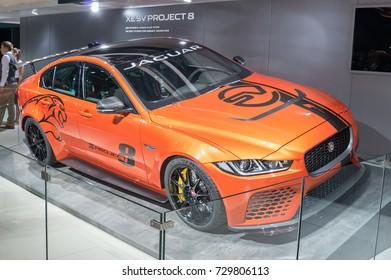 Frankfurt-September 20:  Jaguar XE SV Project 8 at the Frankfurt International Motor Show on September 20, 2017 in Frankfurt