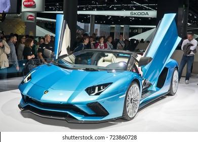 Frankfurt-September 20:  Lamborghini Aventador S Roadster  at the Frankfurt International Motor Show on September 20, 2017 in Frankfurt