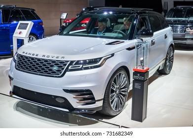 Frankfurt-September 20:  Land Rover Range Rover Velar at the Frankfurt International Motor Show on September 20, 2017 in Frankfurt