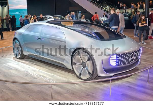 Frankfurt-September 20: Mercedes-Benz F015 Luxury in Motion concept car  at the Frankfurt International Motor Show on September 20, 2017 in Frankfurt
