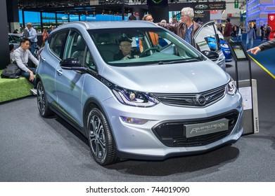 Frankfurt-September 20:  Opel Ampera-E at the Frankfurt International Motor Show on September 20, 2017 in Frankfurt
