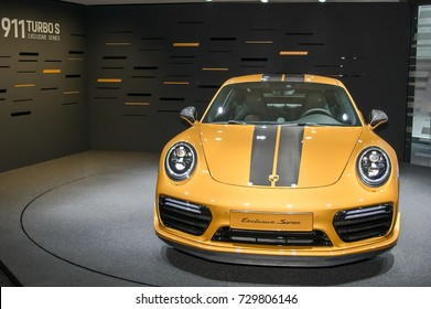 Frankfurt-September 20:  Porsche 911 Turbo S Exclusive Series at the Frankfurt International Motor Show on September 20, 2017 in Frankfurt