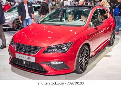 Frankfurt-September 20:  Seat Leon FR at the Frankfurt International Motor Show on September 20, 2017 in Frankfurt