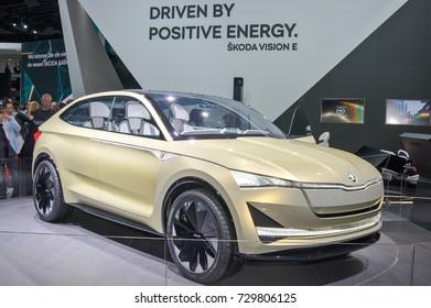 Frankfurt-September 20:  Skoda Vision E concept at the Frankfurt International Motor Show on September 20, 2017 in Frankfurt