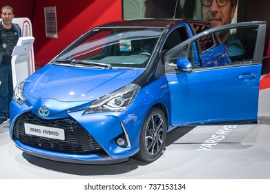 Frankfurt-September 20:  Toyota Yaris Hybrid at the Frankfurt International Motor Show on September 20, 2017 in Frankfurt