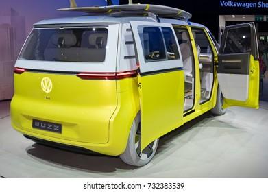 Frankfurt-September 20:  Volkswagen I.D. Buzz concept at the Frankfurt International Motor Show on September 20, 2017 in Frankfurt