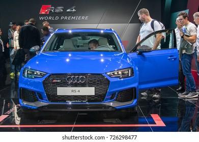 Frankfurt-September 20: World premiere of Audi RS4 avant  at the Frankfurt International Motor Show on September 20, 2017 in Frankfurt
