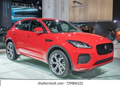 Frankfurt-September 20: world premiere of Jaguar E-Pace at the Frankfurt International Motor Show on September 20, 2017 in Frankfurt