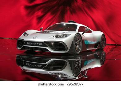 Frankfurt-September 20: world premiere of Mercedes-AMG Project One concept car  at the Frankfurt International Motor Show on September 20, 2017 in Frankfurt