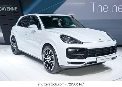 Frankfurt-September 20: world premiere of Porsche Cayenne Turbo at the Frankfurt International Motor Show on September 20, 2017 in Frankfurt
