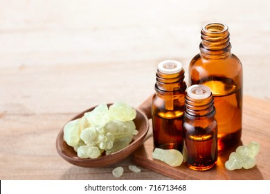 Frankincense essential oil in the amber bottle