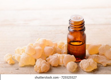 Frankincense essential oil on the table