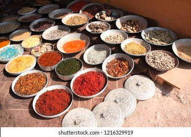 Frankincense, incense, aromatic herbs and spices on street market in Petra (Red Rose City), Jordan. UNESCO world heritage site