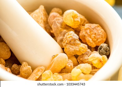 Frankincense, incense with mortar