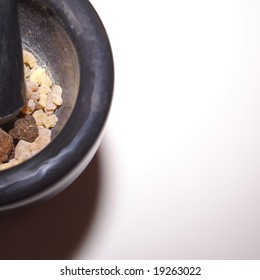 Frankincense and Myrrh in a Mortar. These are 2 of the 3 items that the 3 wise men gave to Jesus according to the Bible Story.