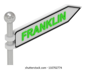 FRANKLIN arrow sign with letters on isolated white background