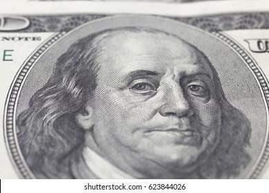 Franklin Benjamin portrait on dollar bill closeup