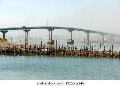Franklin Delano Roosevelt Bridge over Lubec Narrows, international crossing between Lubec, Maine and Campobello island, Canada