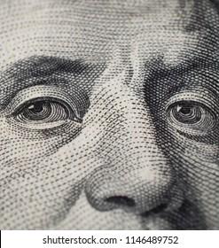 Franklin eyes on one hundred dollar bill