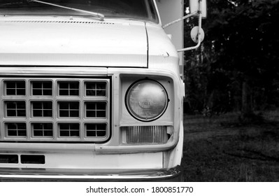 Franklin, NJ / United States - August 9 2020: Front of a Chevy Shasta RV