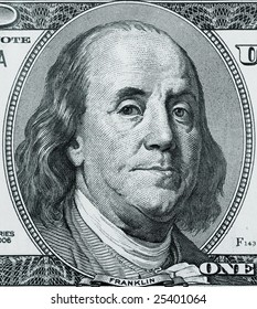 Franklin portrait on one hundred american dollar closeup