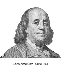 Franklin Portraits of America presidents and politicians from dollars isolated on white background. This has clipping path.