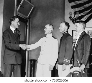 Franklin Roosevelt receiving official notification of his Democratic Vice Presidential nomination. July 17, 1920.