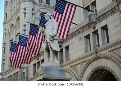 Franklin Statue in front of the Old Post Office Building in Washington DC, United States