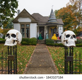 Franklin, Tennessee, USA - October 24, 2020: The historic Lilli House, built in 1894, during the Halloween season