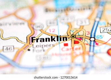 Franklin. Tennessee. USA on a geography map